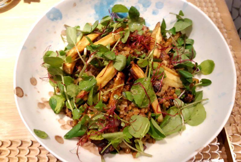 Lentils Autumn Salad, Watercress and Parsnips